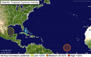 Zwei mögliche Tropenstürme werden ausgemacht - einer mit Flugrichtung Kuba (Quelle: )
