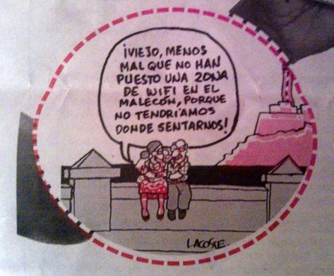 """Comic: """"Opa, zum Glück haben sie keine WLAN-Zone am Malecón aufgemacht, so dass man hier noch Sitzplätze findet!"""""""