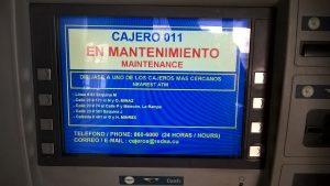 Bildschirm eines Geldautomaten: Geldautomat außer Betrieb