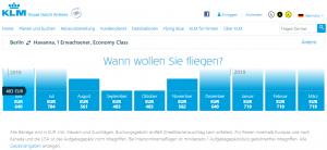 Kubanews: KLM Preisübersicht Buchungstool