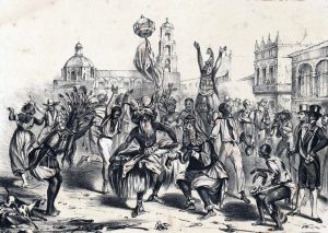 Día de Reyes. Grabado de Federico Miahle, 1855.