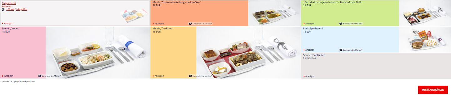 Kubanews: Air France Menüauswahl