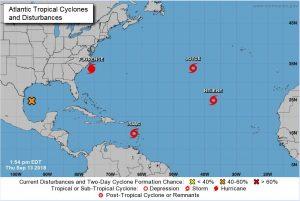Kubanews: Aktuelle Lage im Nordatlantik vom National Hurrican Center (13.09.18)