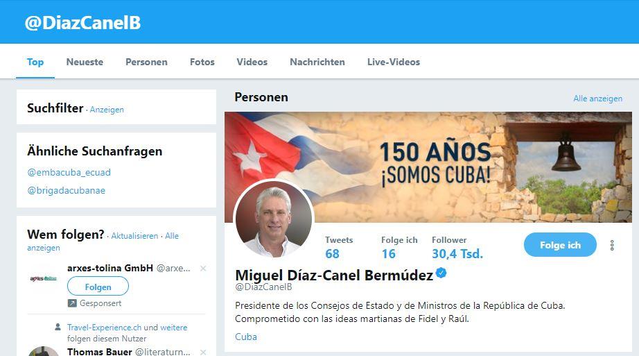 Kubanews: Twitter-Account von Kubas Präsident