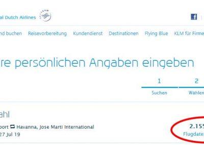 KLM Flugbestätigung