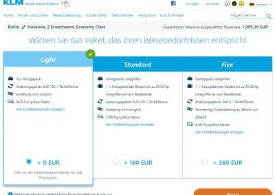 KLM Gepäckauswahl