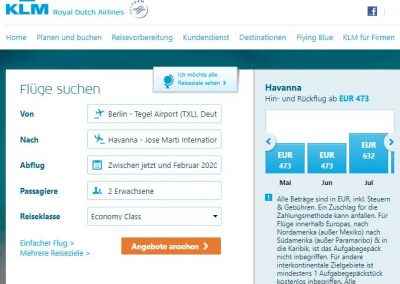 KLM Flugsuche