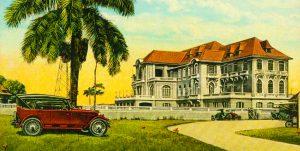 Postkarte nach 1925 mit Clubgebäude von der Straßenseite