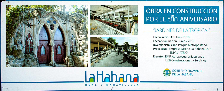Kubanews: Baustellenschild für die Restaurierung der Biergärten La Tropical